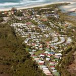 Aerial view of Holiday Resort by the beach, Northern NSW, Australia